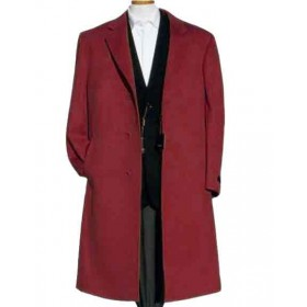 Alberto Nardoni Dark Burgundy Wool Overcoat - Mens Topcoat