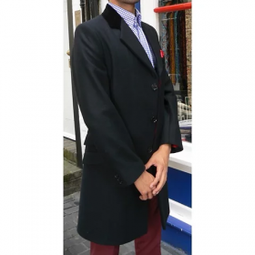 Chesterfield Coat-Cashmere Overcoat Full length or Mid length-Black Topcoat