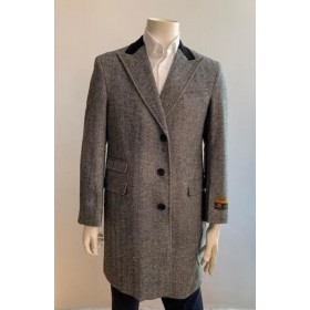 Chesterfiled Overcoat - Chesterfiled Three Qurter Mens Coat Wool Cashmere Topcoat  Gray By Alberto Nardoni