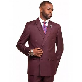 Mens Double Breasted 2 Button Burgundy Notch Lapel Suit