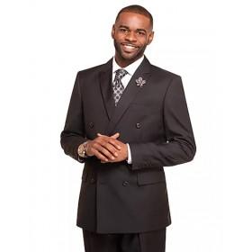 Mens Black Double Breasted 2 Button Notch Lapel Suit