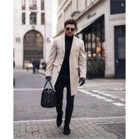 Mens Peak Lapel Double Breasted Wool Long Beige topcoat