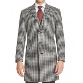 Mens Single Breasted Notch Lapel Black White Houndstooth Coat Wool