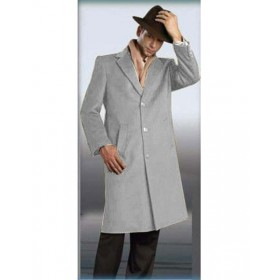 Light Grey Alberto Nardoni Full Length Coat - Mens Topcoat