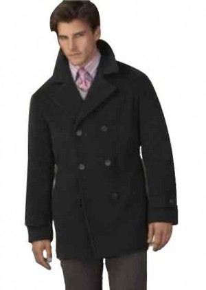 Wool pea coat Double Breasted Broad Lapels in 3 Color